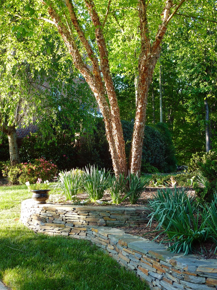 I like the spikey plants at the bottom, rock wall for the ... on Uphill Backyard Ideas  id=50608