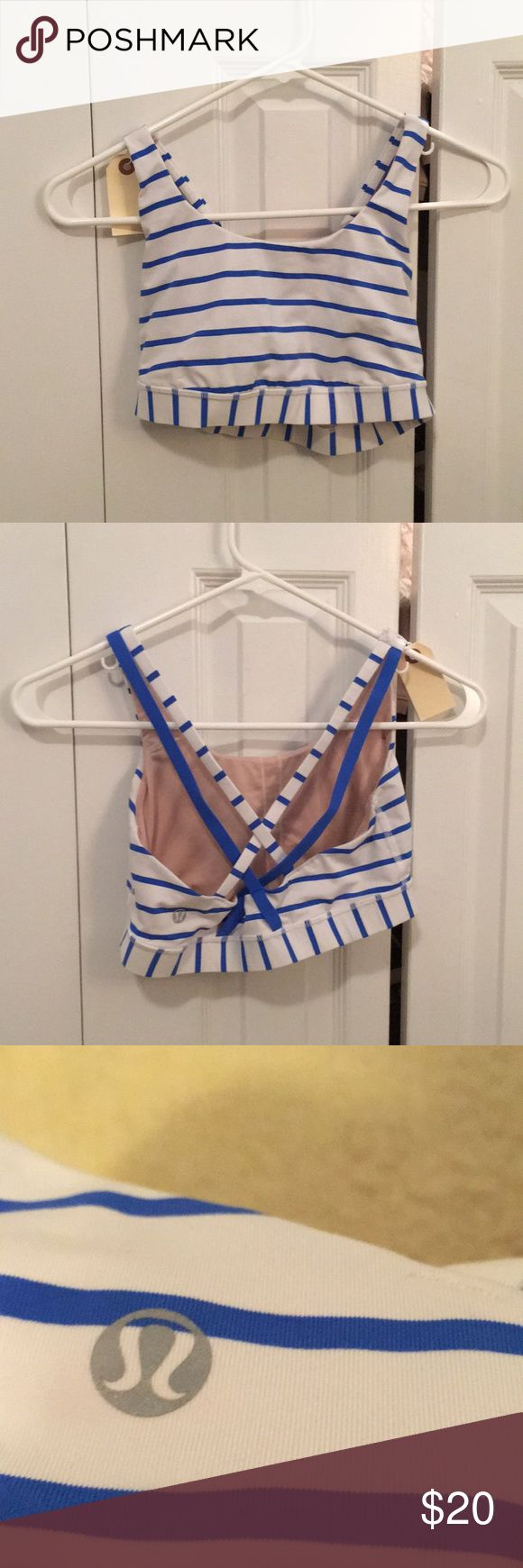 Lululemon blue & white stripe sports bra sz6 56616 Blue and white striped sports bra sz 6 pre loved lululemon athletica Tops Tank Tops