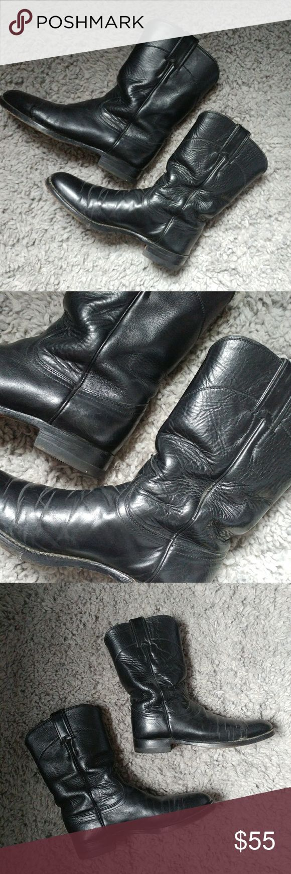 Vintage black leather motorcycle cowboy boots 7 Pebble leather, beautiful vintage condition. Sad they are not my size. 7 B is printed on inside, made in USA. Shoes Combat & Moto Boots