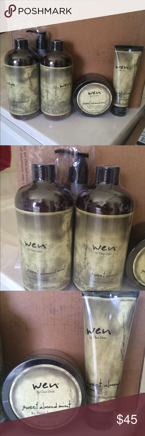 Only 1 left  Wen Hair Care 🎉🎊🎉🎊🎊 🎉🎉🎉🎉 Wen hair care. You get 2 cleansing conditioner (sweet almond mint) frizz control (sweet almond mint) intensive conditioner (sweet almond mint)  Love this product but I have enough to last a lifetime 😃 Other