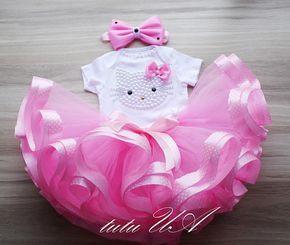 Rosa Hello Kitty cumpleaños Tutu Set cumpleaños de hello