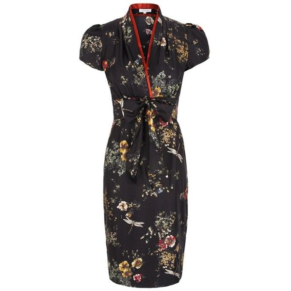 Dragonfly Silk Tea Dress Oriental (21.640 RUB) ❤ liked on Polyvore featuring dresses, below the knee dresses, bow dress, vintage silk dress, vintage dresses and vintage tea dress