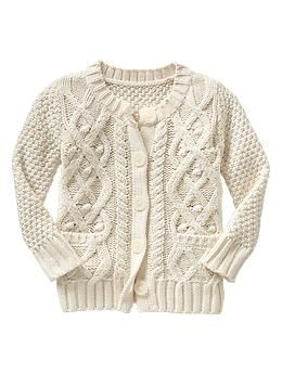Textural cable knit cardigan   Gap