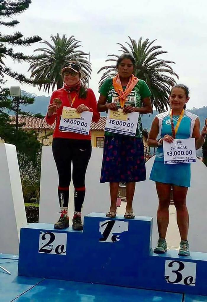 María Lorena Ramirez won 1st place in a 50k marathon in Mexico. She ran in a skirt and sandals.