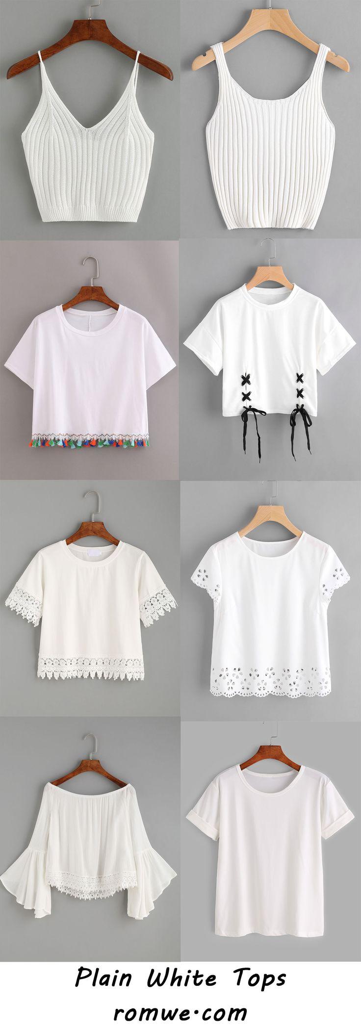 plain white tops 2017 - romwe.com