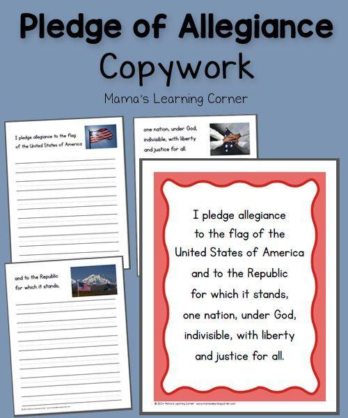Pledge Of Allegiance Copywork Homeschool And Social Studies