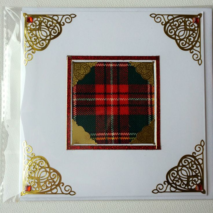Red Tartan any occasion greeting card with  gold embellishments celtic hearts by TanyaWatsonDesigns on Etsy