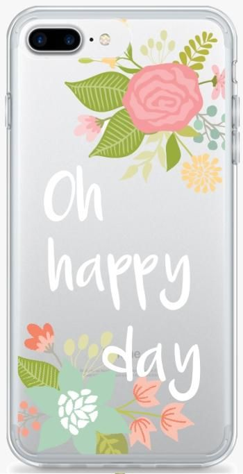 Oh Happy Day Floral iPhone 8 Plus Clear Extra Protective Bumper Case