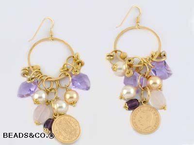 orecchini grappoli d'oro - kit idee creative - creare bigiotteria e gioielli - Beadsandco