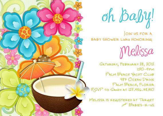 Luau Baby Shower Invitation Tropical Hawaiian Hula Party - Printable Custom Invite