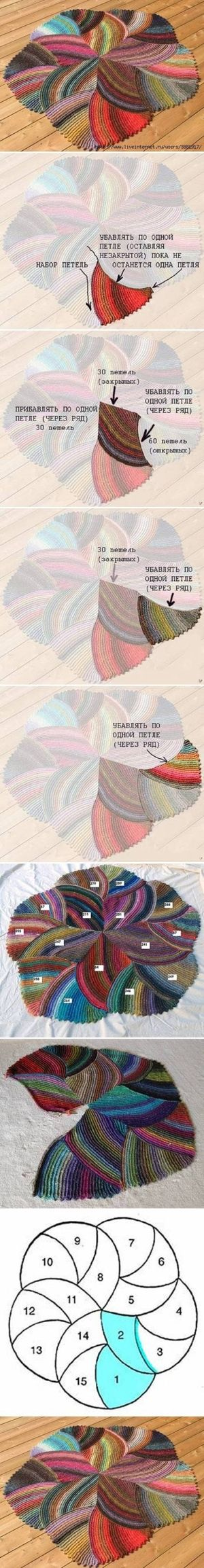 DIY Melange Rug. Additional info at http://www.howtoinstructions.org/how-to-make-melange-rug-step-by-step-diy-tutorial-instructions/ and http://www.liveinternet.ru/users/4342044/post161415191/