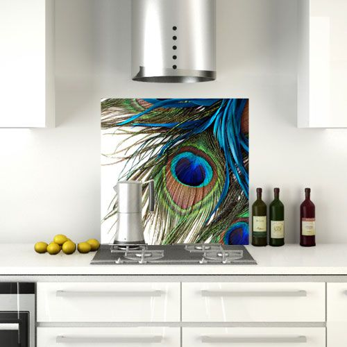 Three Peacock Feathers, Glass Splashback by CreoGlass, Buy One Get One Half Price