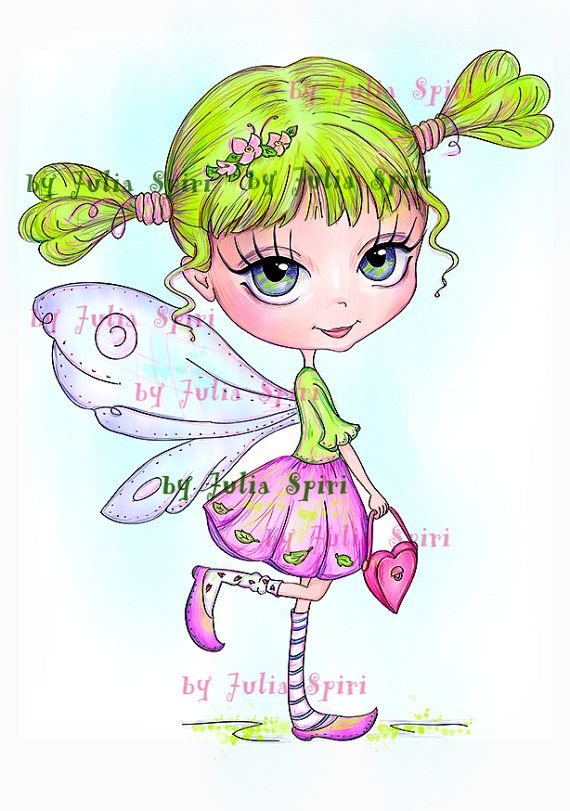 Digital Stamps, Digi stamp, Coloring pages, Digital doll, Fairy stamps, Fantasy, Fashion, Scrapbooking printable, Doll stamp. Little Fairy