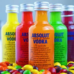 Skittles Vodka Party Favors. Mini Bottles with filled with tasty and colorful alcohol? Absolut-ely!