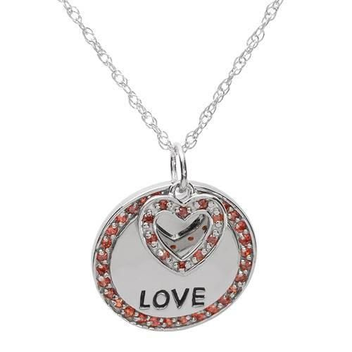 Terrific Necklace   With Cubic Zirconia  Pleasant heart shape necklace with cubic zirconia in 925 sterling silver. Total item weight 6.7g. Length 18inch. Gemstone info: 39 cubic zirconia, 0.80ctw., round shape and orange color.