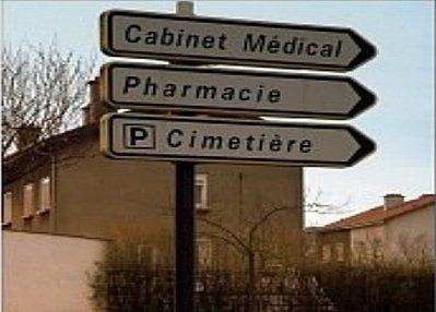 French humour Medical office/pharmacy/cemetary