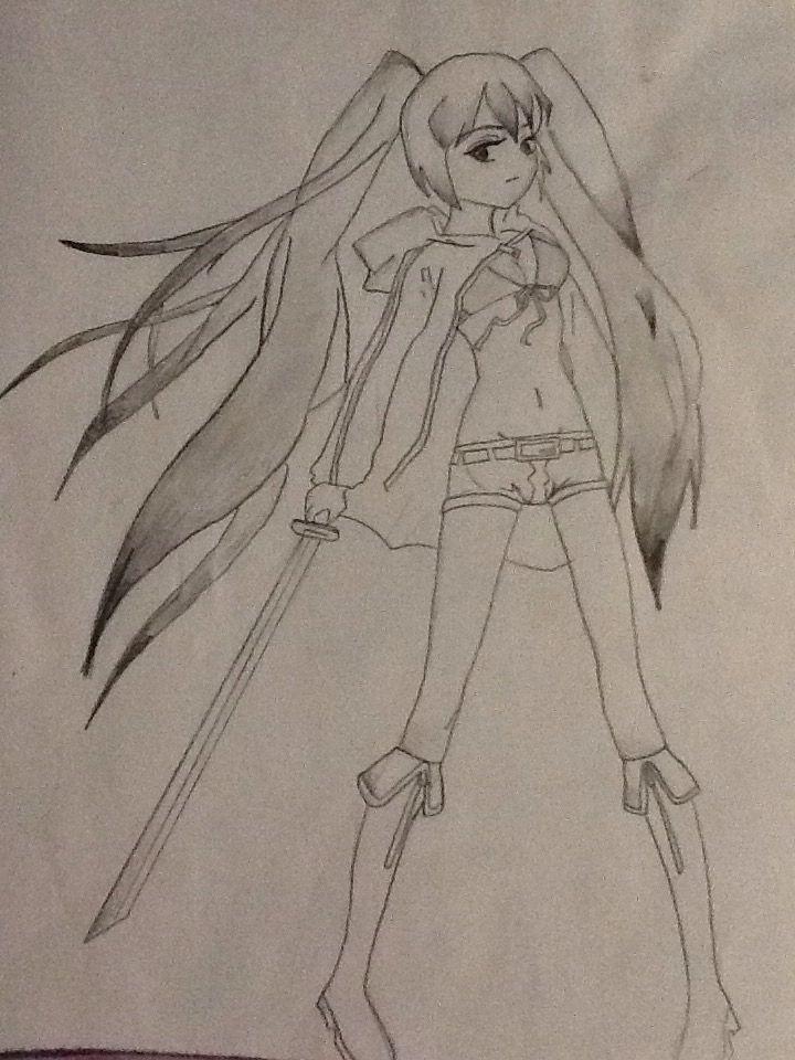 Random manga girl I drew holding a sword have no idea what anime or manga she comes from.