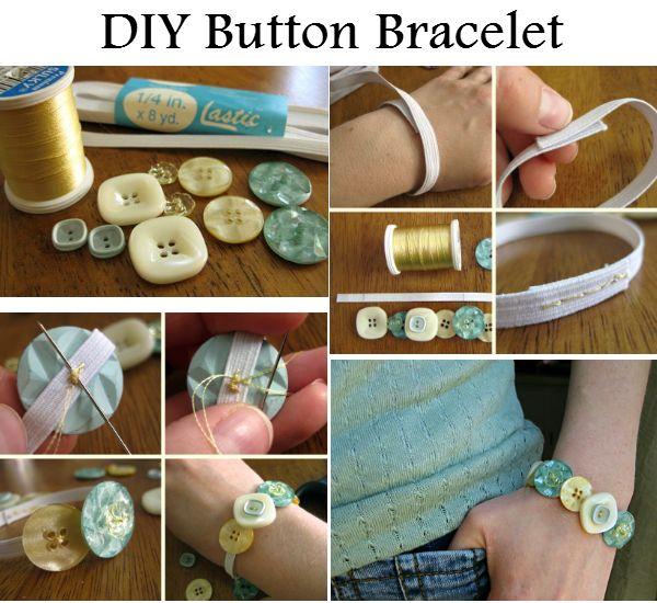 DIY Button Bracelet - http://diyideas4home.com/2014/01/diy-button-bracelet/