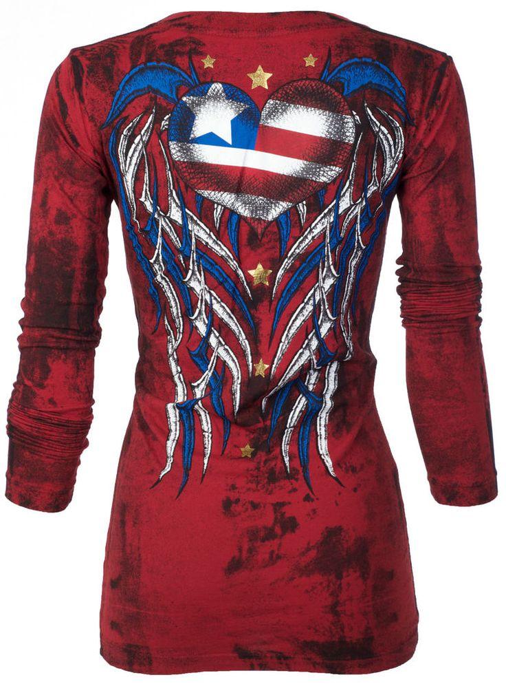 Archaic AFFLICTION Women LS T-Shirt AMERICAN LOVE Biker USA FLAG Sinful S-XL $58 #Affliction #GraphicTee