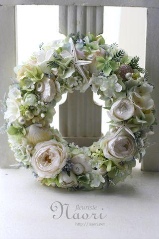 ローズと貝殻と星のリース | Floral Arrangements As Accessories | Pinterest | Wreaths, Flower and Craft