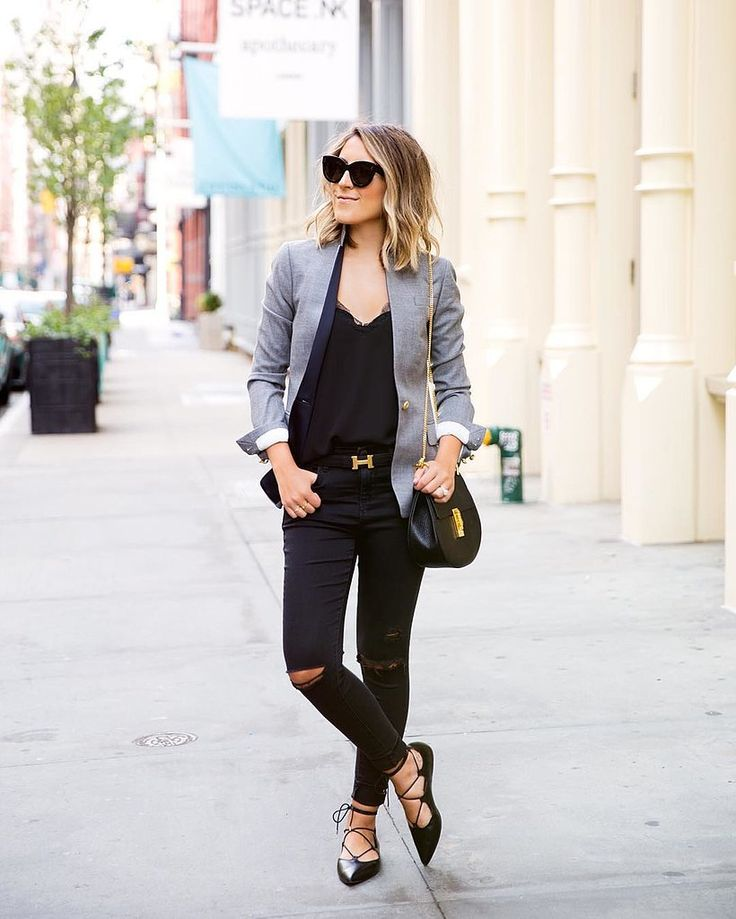 A Gray Blazer, a Black T-Shirt, Black Jeans, and Black Flats: