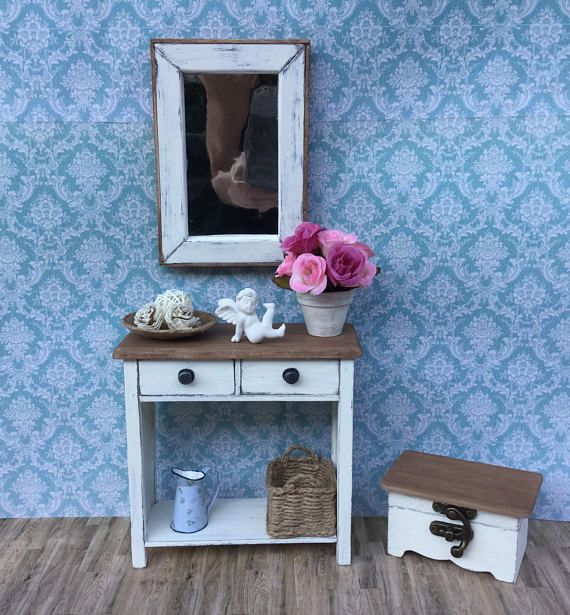 1:6 shabby chic commode with mirror and seat furniture for