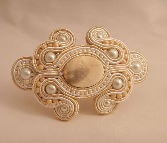 Soutache barrette. Cream hair accessory. Wedding by MollyGDesigns