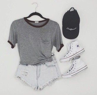 shorts grey white tumblr cute style converse t-shirt hat