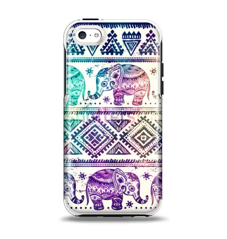 The Tie-Dyed Aztec Elephant Pattern Apple iPhone 5c Otterbox Symmetry Case Skin Set