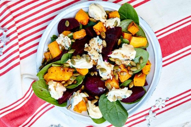 Complete your Christmas feast with this sensational pumpkin and beetroot salad sprinkled with creamy blue cheese.