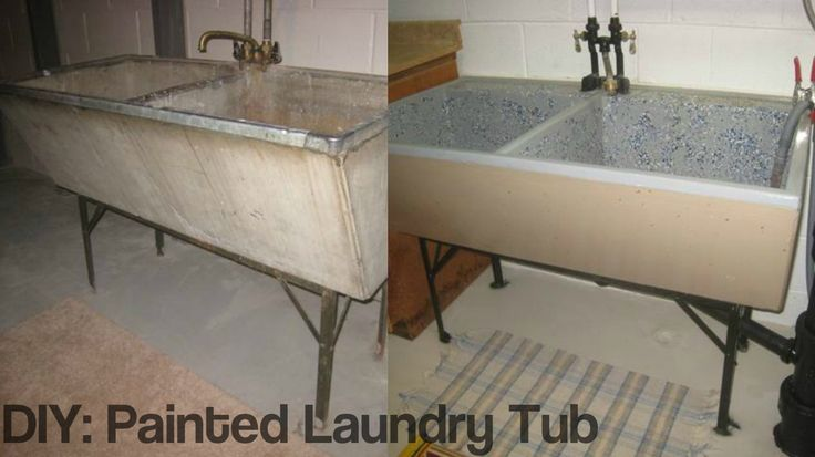 Do you have one of those old, concrete 400 lb laundry tubs in your home? Check out this DIY project to make it look new again! #ShorewestRealtors #DIY