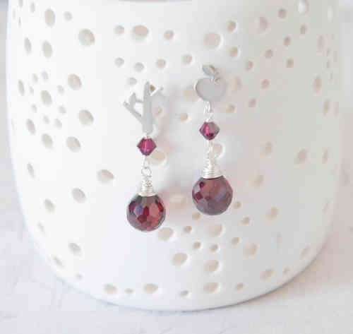 The Red Apple Tree Earrings - Rhodium Plated post earrings with wire wrapped ruby red cubic zirconia - White Apple Gifts