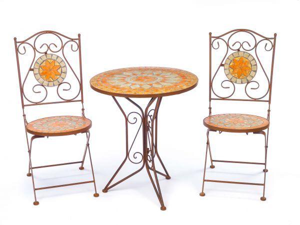 Garnitur Gartentisch 2 Stuhle Eisen Fliesen Mosaik Garten Tisch Stuhl Antik Stil Gartentisch Stuhle Mosaikgarten