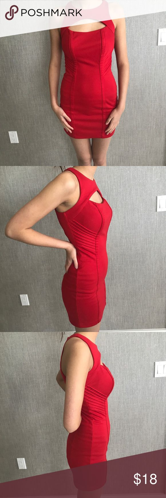 """{ Charlotte Russe } Red Peekaboo Scuba Knit Dress Showstopping scuba dress, very flattering.  95% polyester 5% spandex  Approximate measurements: Bust: 34"""" Waist: 26"""" Length: 33"""" Charlotte Russe Dresses Mini"""