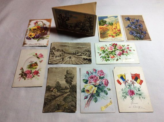 #Set 9 #vintage #used #french #postcards #1915 #1920s #JustSweetHoney @Etsy #Floral $postcard #classic #rose #flag #winter #poppies #summer #landscape #artist #Bonelli #Embossed and #photo postcards #Magnificent #original #antique #giftforher #gift #giftidea #vintageshop #old #ethnic #art #patriotic #HandColoredPrint #Paper  #Greeting #Cards  #Congratulations Cards