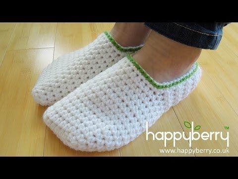 Feliz Berry Crochet: Cómo - Crochet simple Zapatillas Adulto Hombres o Mujeres