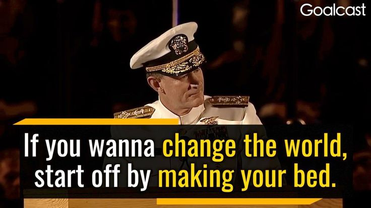 United States Navy admiral William H. McRaven delivers a powerful speech about the importance of doing the little things and embracing fear in life.