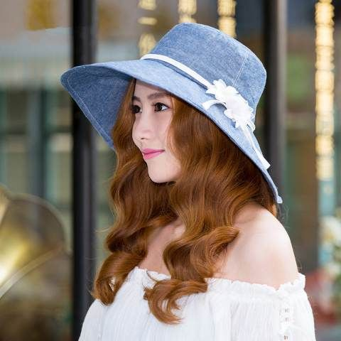 Womens flower bucket hat wide brim sun hats for summer outdoor wear
