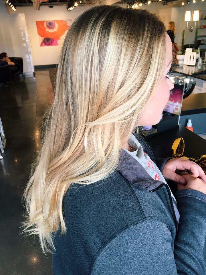 Blonde balayage. Blonde. Bright blonde balayage. Warm blonde. Balayage. Hair by Mallory at B Young Salon Wichita KS