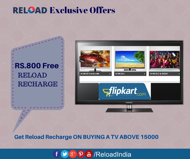 Free Reload recharge on purchasing TV. Check Out More Of These Fantastic Offers Only at #Reload! https://www.reload.in/shop-and-earn-free-mobile-recharge-online