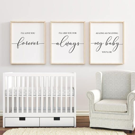 I'll Love You Forever printable, Nursery Wall Art, Nursery Decor, Baby Shower Gift, Baby Girl Nursery, Baby Boy Nursery, Set of 3 – ***Etsy Sellers Club***