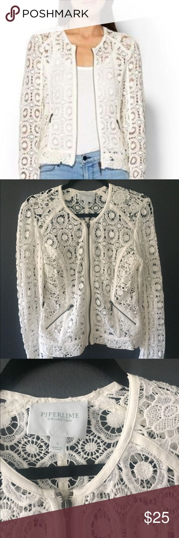 Piperlime White Lace Zip Up Jacket Small 🍋 White lace/crocheted zip up jacket with white piping from Piperlime, size small. Excellent condition! 🍋 Piperlime Jackets & Coats