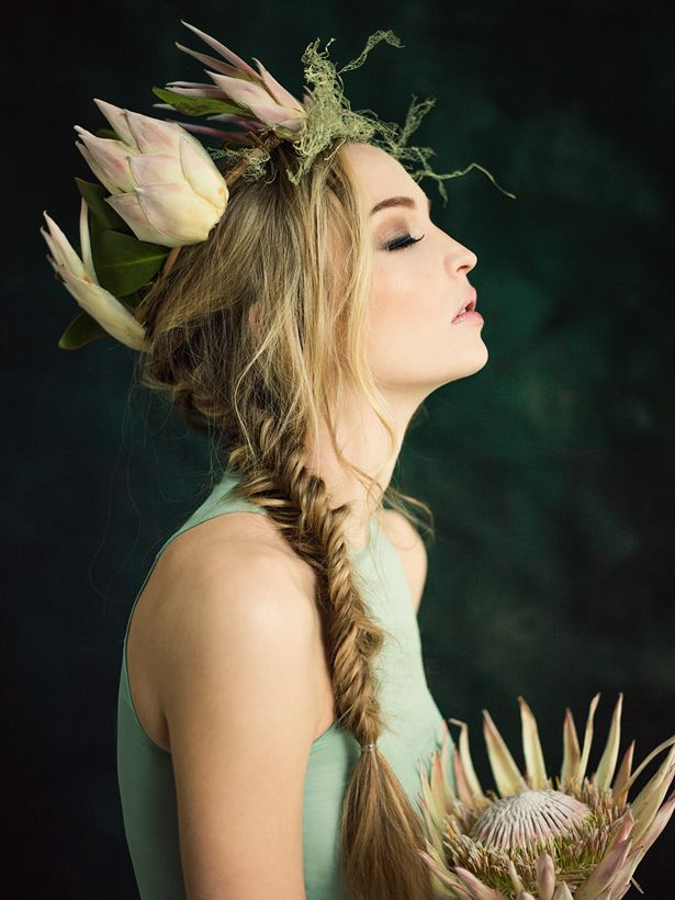 "Above: Antonio Berardi top, protea flower crown inspired by Max from ""Where The Wild Things Are"" by Maurice Sendak. Shot at Ann Street Studio with flowers crowns created by Bess Wyrick, modeled by Colette of MSA, Hair & Makeup by Flippin Faces 