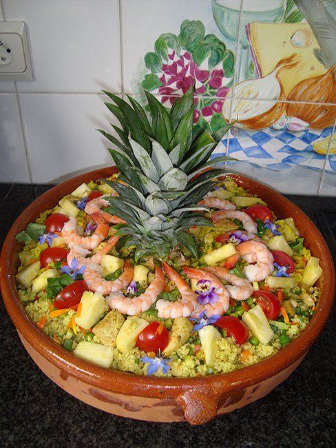 Koude Indische rijstschotel met kip en ananas 9