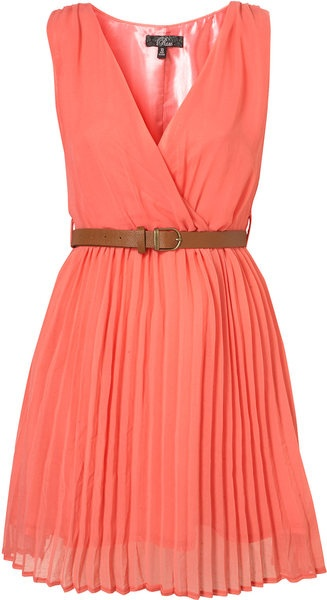 Crossover Pleated Belt Dress By Rare**