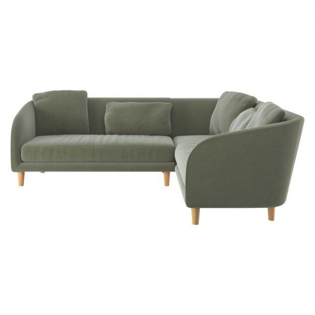 COLBY Sage green velvet left arm corner sofa