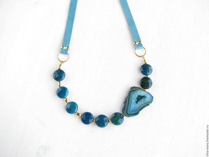 "Купить Колье ""Синее море"" - колье кожаное синее море, кожаное колье синее море. Necklace ""Blue sea"" #necklace #jewelry #etsy #голубоеколье #handmade #agate #blue #gold #leathernecklace #agatenecklace #lazurite #businesscasual #delicatenecklace #statementnecklace #girl #fashion #колье #синиеколье #агат #кольеизагата #кожаноеколье"