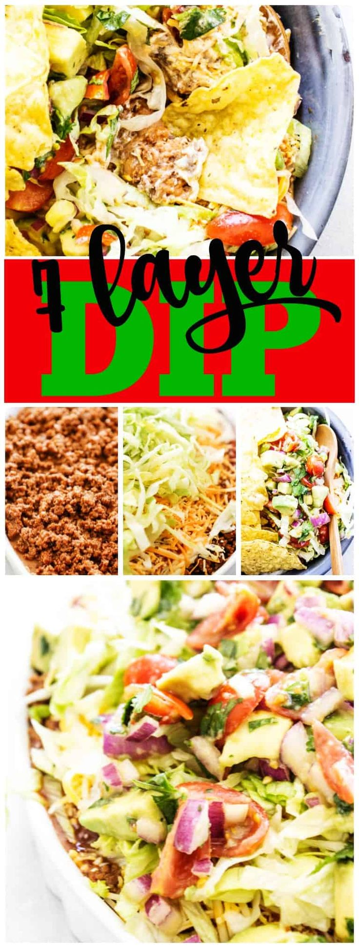 Mouthwatering 7 LAYER DIP is always a huge hit at barbecues, get-togethers and gameday gatherings, layering your favorite dip ingredients onto one plate. #ad #gametimefood #dip #grub