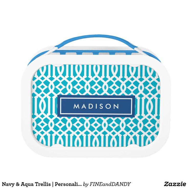 Navy & Aqua Trellis | Personalized Lunch Box
