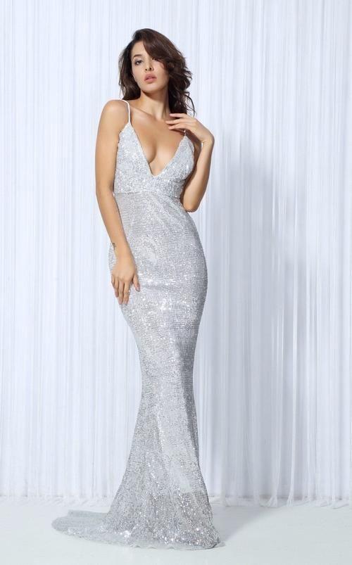 0d5233997657 Goal Digger Silver Embellished Sequin Maxi Dress - Fashion Genie Boutique  USA Alt